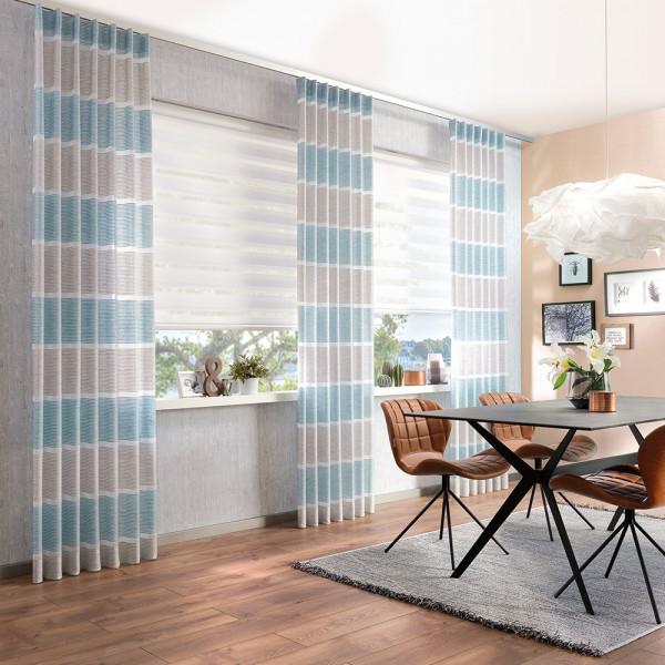 Dekovorhang mit Doppelrollo für Ihr Ess- oder Arbeitszimmer